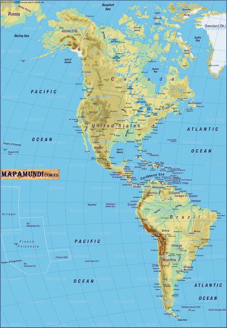 Mapamundi Mapa de America fisico