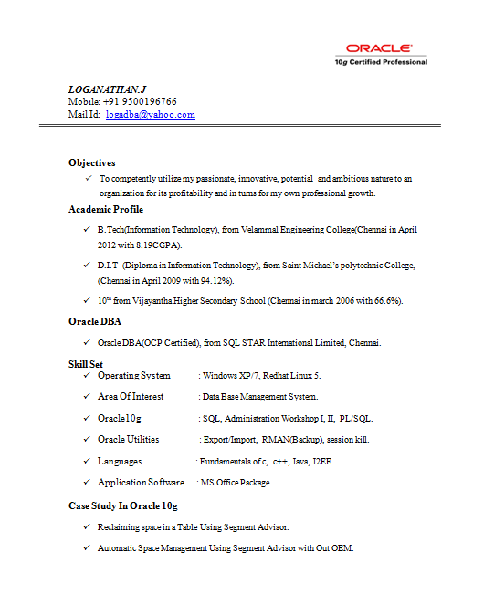 resume templates - Oracle Dba Resume Examples