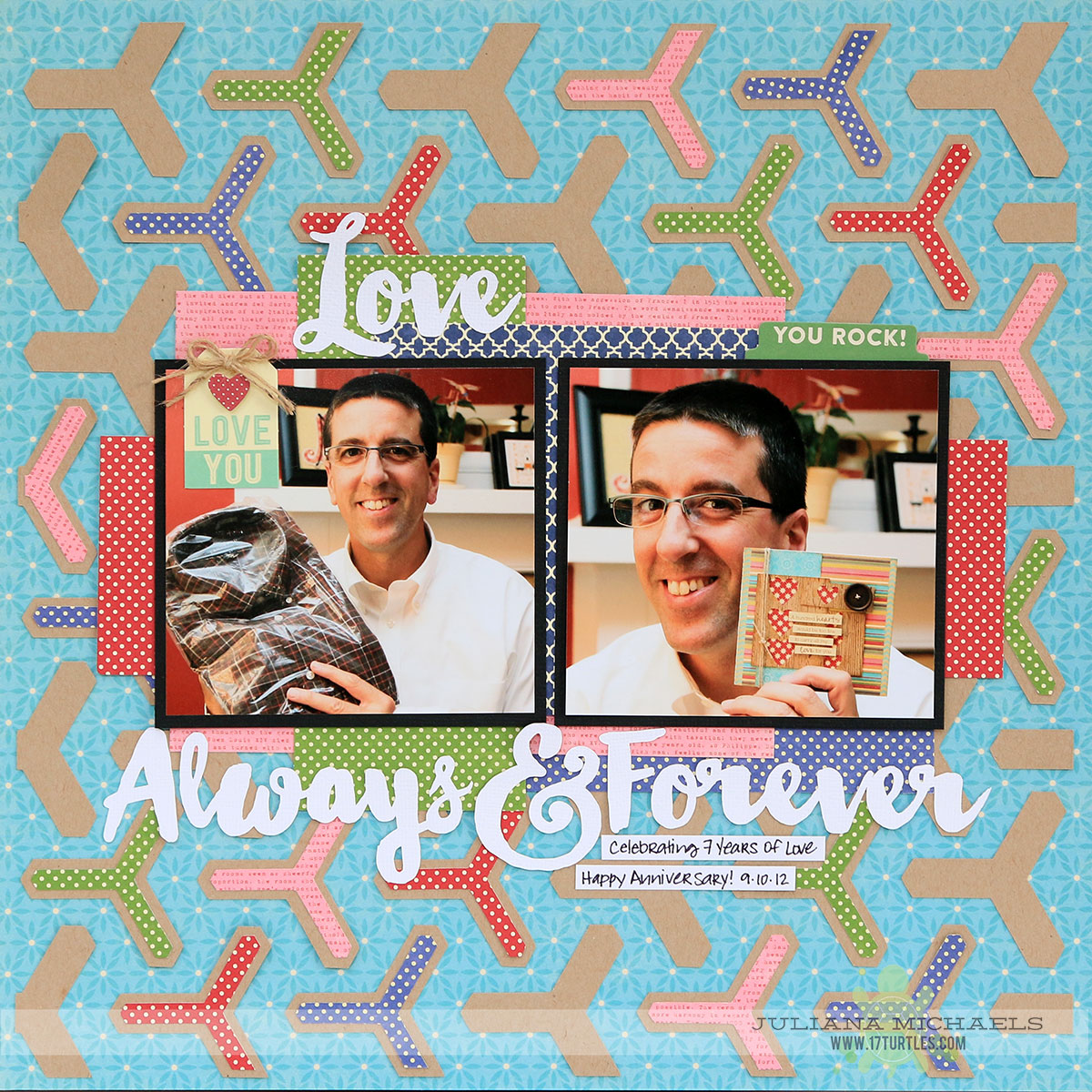 Love Anniversary Scrapbook Page by Juliana Michaels featuring 17turtles Digital Cut Files Love Always and Y Yes No. 1 Background