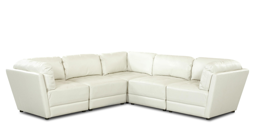 White Bonded Genera Leather Sectional Sofa