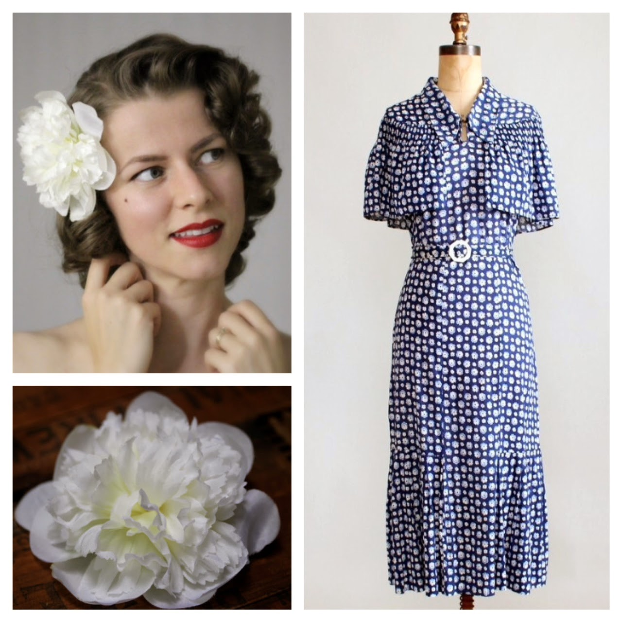 blue and white vintage 30s dress