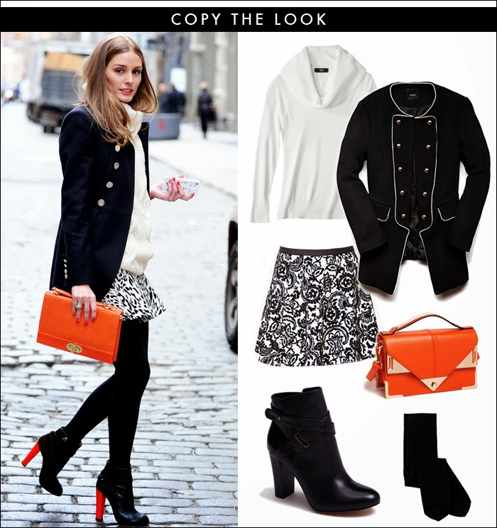 casual look, what to wear, skater skirt, military jacket, orange crossbody bag, christmas gift ideas, booties, how to wear skater skirt