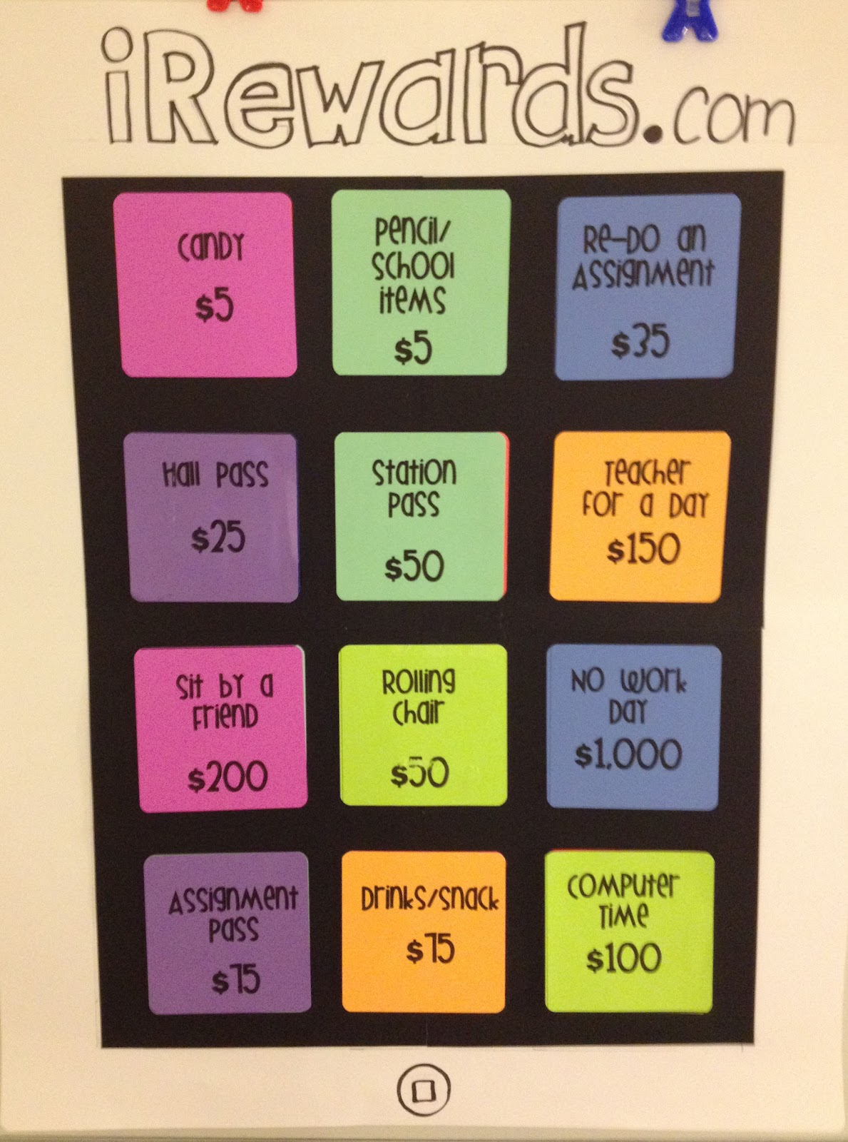 Classroom Reward Ideas For Middle School ~ Our version of the ipad