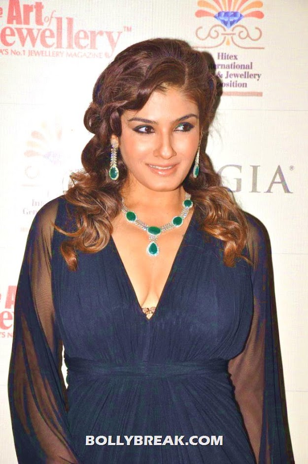 Raveena Tandon in black dress -  Raveena Tandon in Black Dress Latest Pics 2012