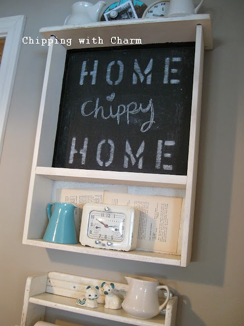 Chipping with Charm:  Getting Organized with Junk, Kitchen Drawer Chalkboard Shelf...http://chippingwithcharm.blogspot.com/