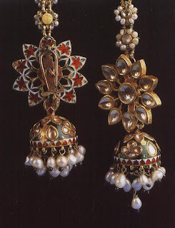 Karnaphool and jhumka, Jaipur, ca. 19th cent. AD Pair of karnaphools (floral studs for the ears) with hanging jhumkas. White sapphires, Basra pearls and fine Jaipur enamelling feature in this pair, probably commissioned for a buyer from Lucknow.