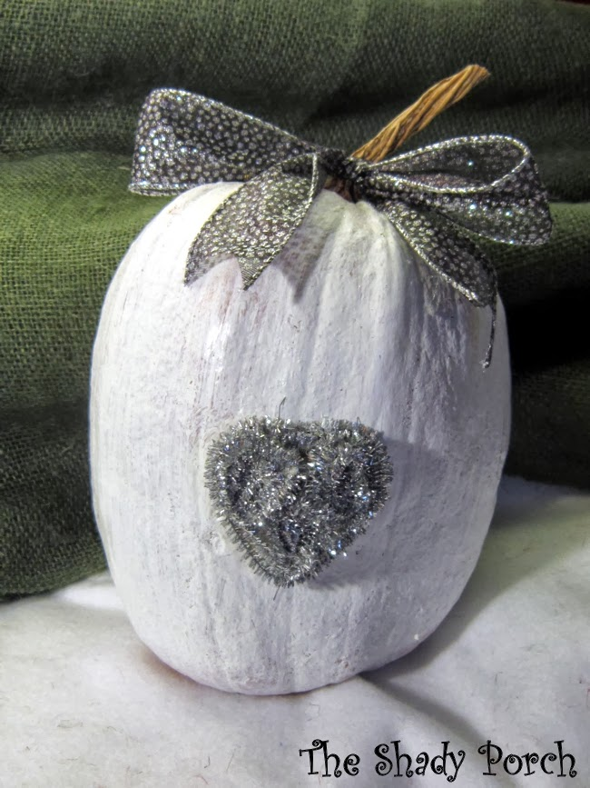 White Glittery Pumpkin #heart #pumpkin #white