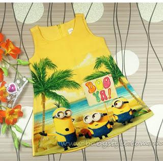 Váy 3D Minion bé gái màu vàng