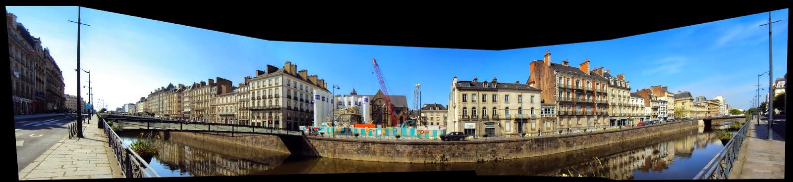 La Place Saint-Germain et les immeuble du quai Chateaubriand depuis le quai Emile Zola - 11 mai 2014 - Photo Erwan Corre