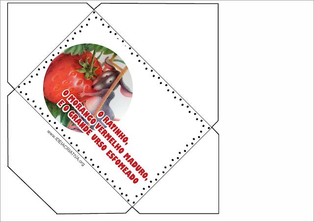 Envelope e tabela atividade O Ratinho,o Morango Vermelho Maduro e o Grande Urso Esfomeado