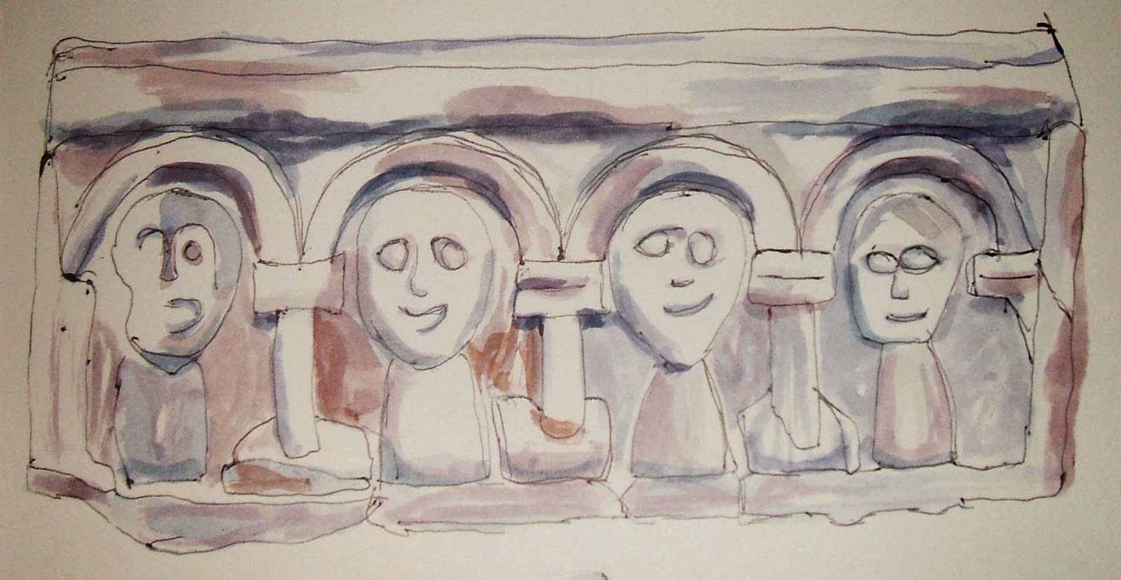 Four strange Norman carved faces at Blagdon church, North East Somerset