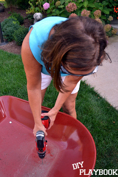 Jan using drill: Wheelbarrow Planter | DIY Playbook