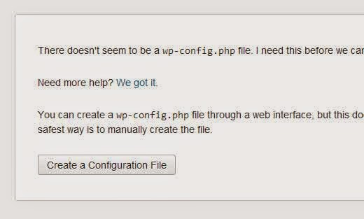 Create Configuration File - WordPress