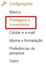 configurações de postagens e comentários