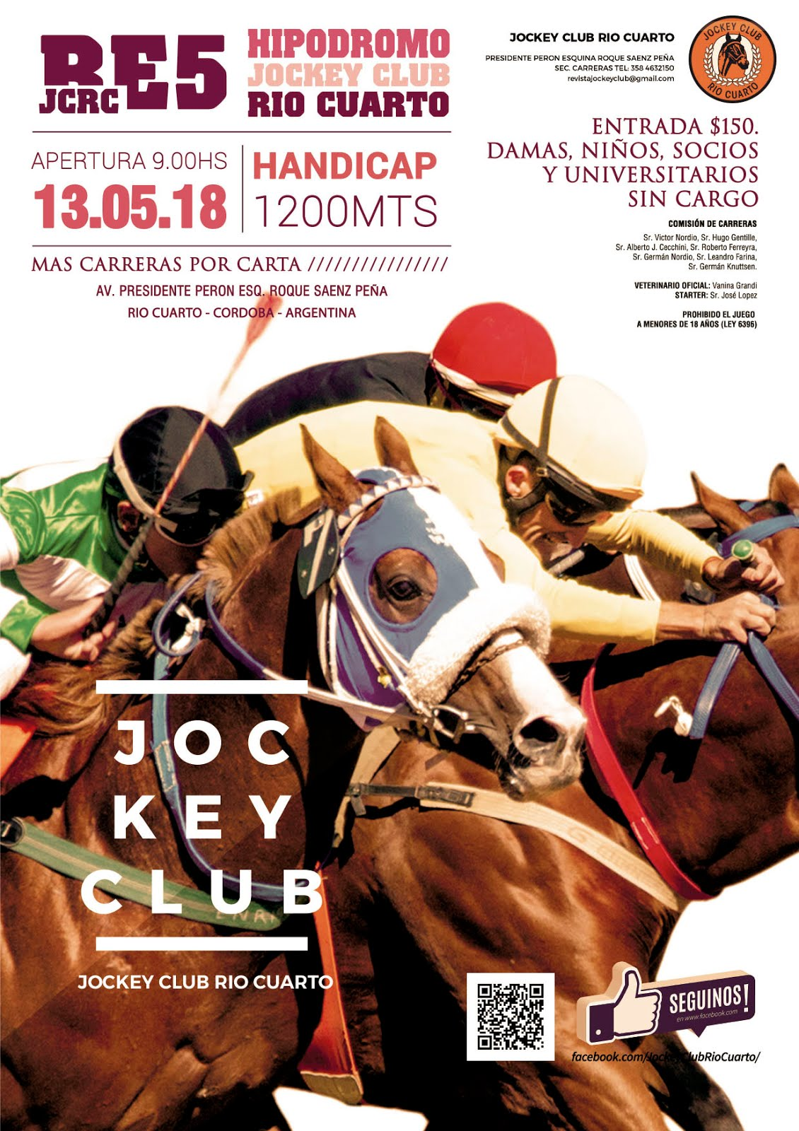 Programa de Carrera - 13 de Mayo - Hipódromo Jockey Club Río Cuarto