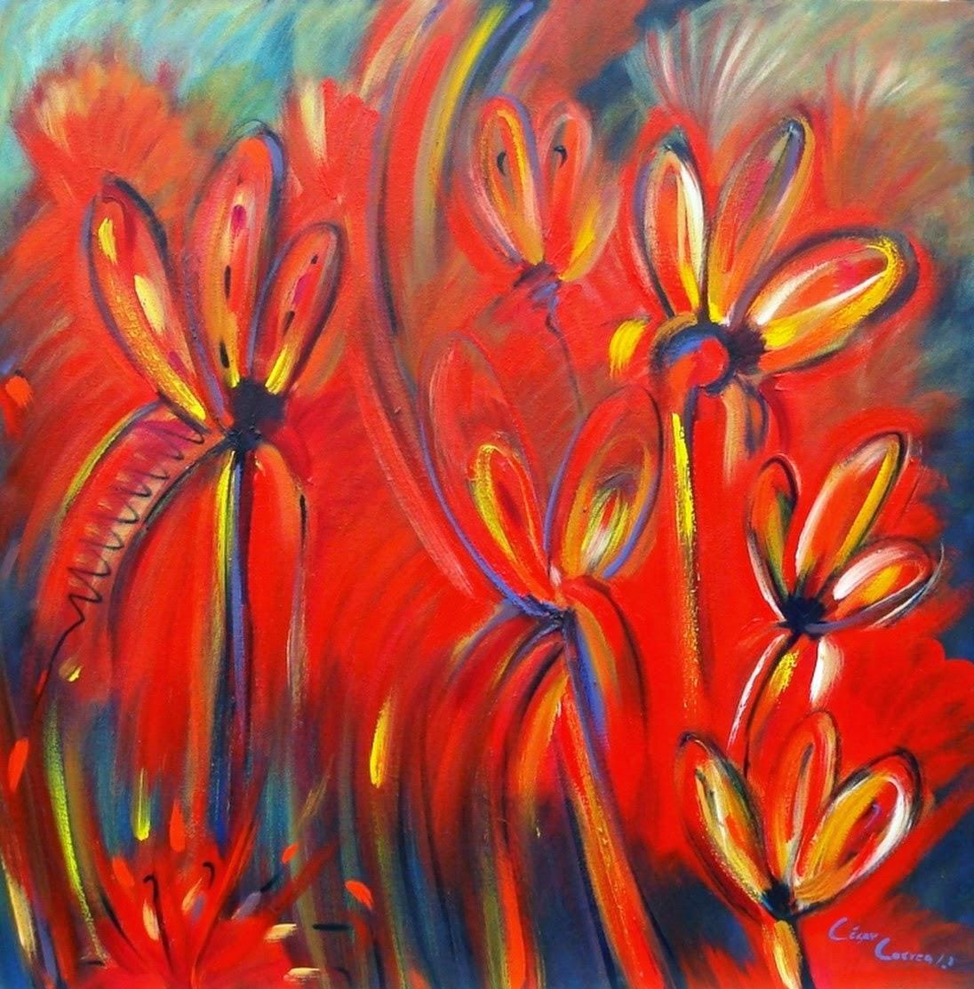 cuadros modernos pinturas y dibujos flores abstractas modernas pintura de c sar correa. Black Bedroom Furniture Sets. Home Design Ideas
