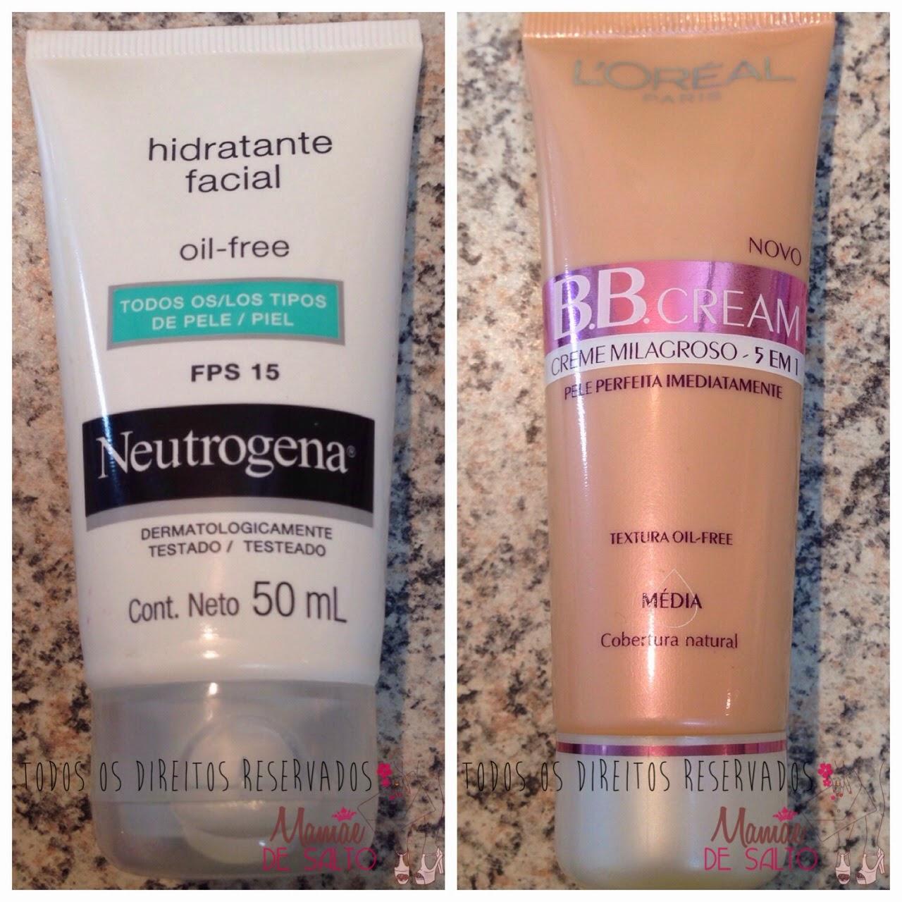 hidratante facial neutrogena oil free todos os tipos de pele FPS 15, BBCream Loreal  creme milagroso 5 em 1 - todos os direitos reservados ao blog Mamãe de Salto