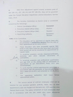 Notification for regularization of Educators in Punjab
