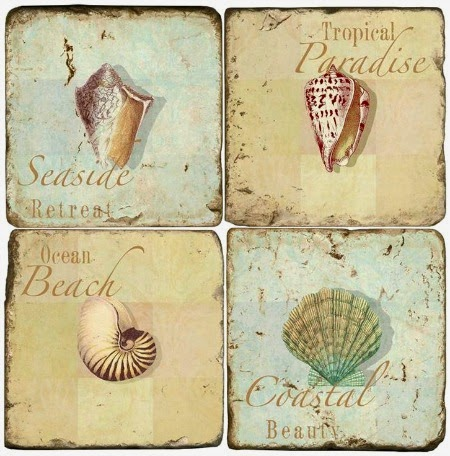 Marble beach coasters with shells