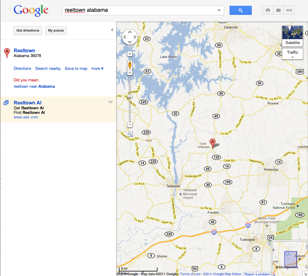 here is where reeltown is in alabama according to google maps click to enlarge