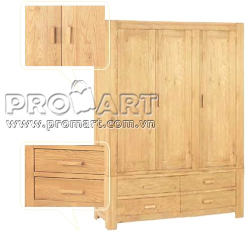 Tủ quần áo gỗ sồi Chunky 3 cánh 4 ngăn kéo