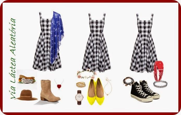Diferentes maneiras de montar um look usando o mesmo vestido com estampa gingham, seja boho, romântico ou roqueiro