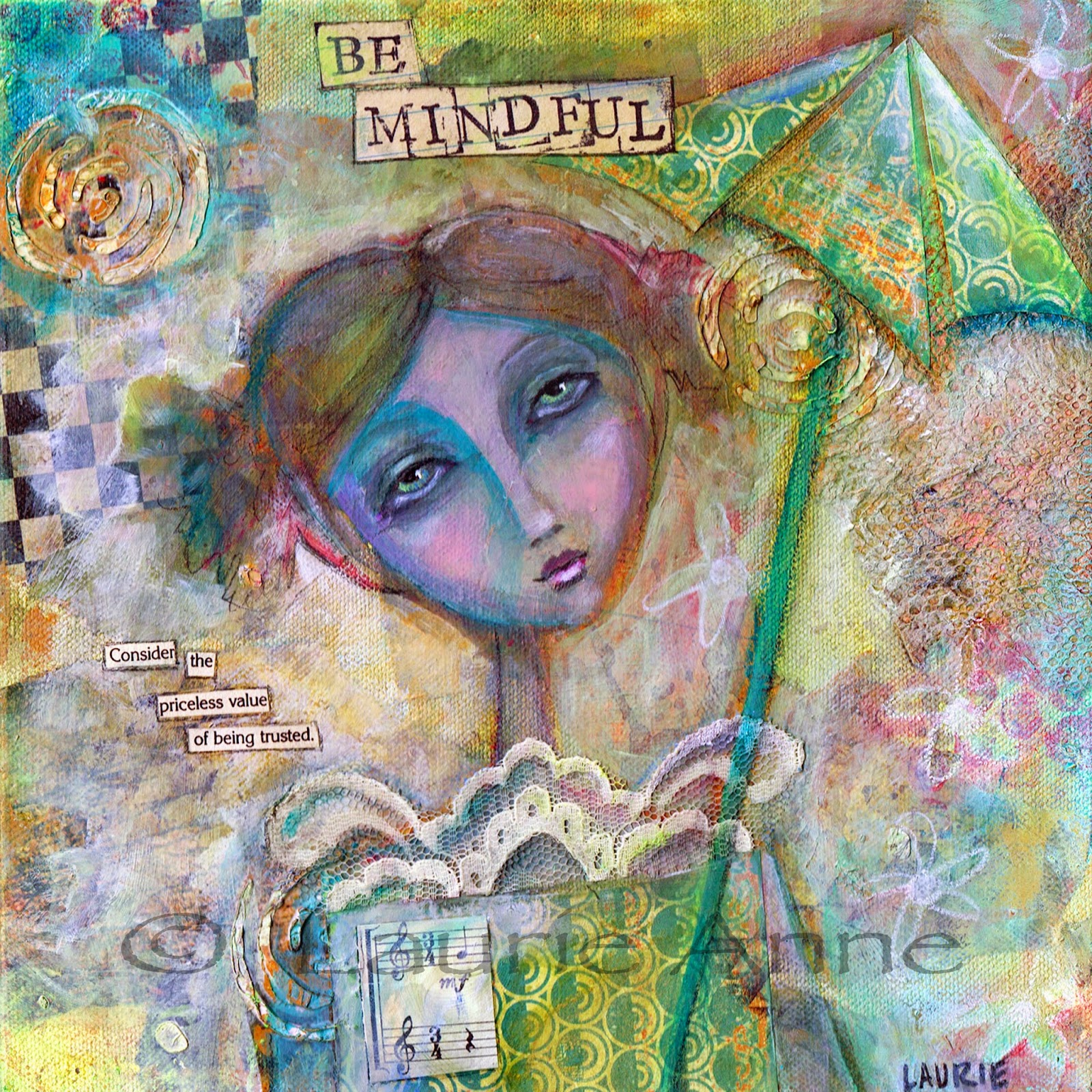 MIxed Media Girl with text and umbrella