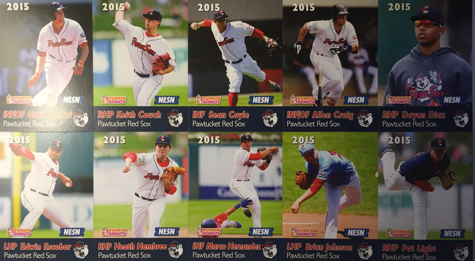 2015 pawtucket red sox promotional team card set | cards of future