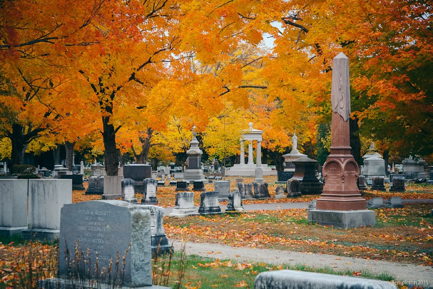 Evergreen Cemetery Fall Autumn Foliage October 2015 in Portland, Maine USA Photo by Corey Templeton.