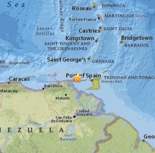 Epicentro sismo Venezuela 16 de Abril 2015