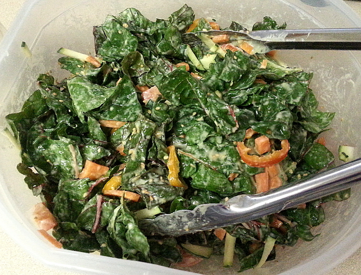 Eat the Rainbow: Miso Sesame Dressing - Massaged Swiss Chard Salad