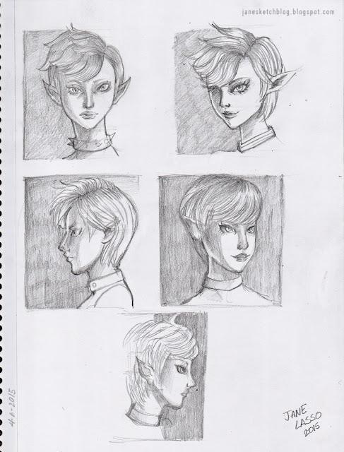 Dibujo a lápiz , de varios ángulos de la cabeza.