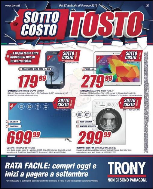 Volantino offerte Trony (Smartphone) disponibili fino all'8 marzo 2015
