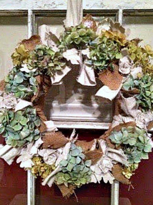 Our Crafty Mom shared her beautiful Hydrangea Fall Wreath at One More time Events.com