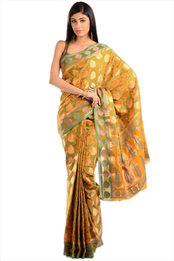 Sunset Gold Chanderi Banarasi Saree