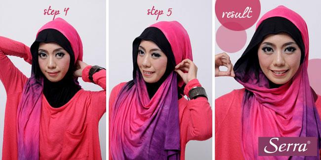 Cara Memakai Jilbab Pashmina Tie Dye Pink