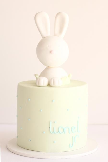 hello naomi cute bunny baby shower cake