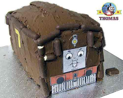 Red train James the tank engine and Thomas the train birthday cake ideas for kids party celebrations