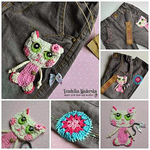 jeans embellished by cat applique