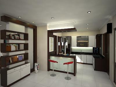 Partisi model minimalis pemisah dapur ruang keluarga dengan ruang tamu