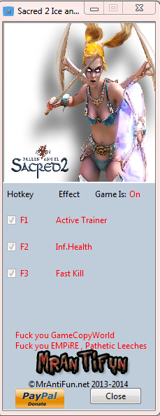 Sacred 2 Ice and Blood V2.65.2 Trainer +2 MrAntiFun