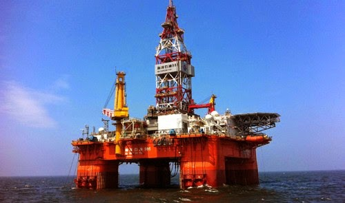 The HD 981 drilling rig of the China National Offshore Oil   Corporation