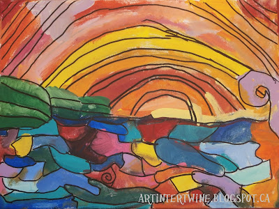 ocean and sunset painting for kids