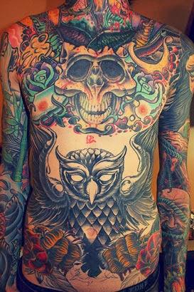Ideias de tatuagens de coruja com caveira no peito