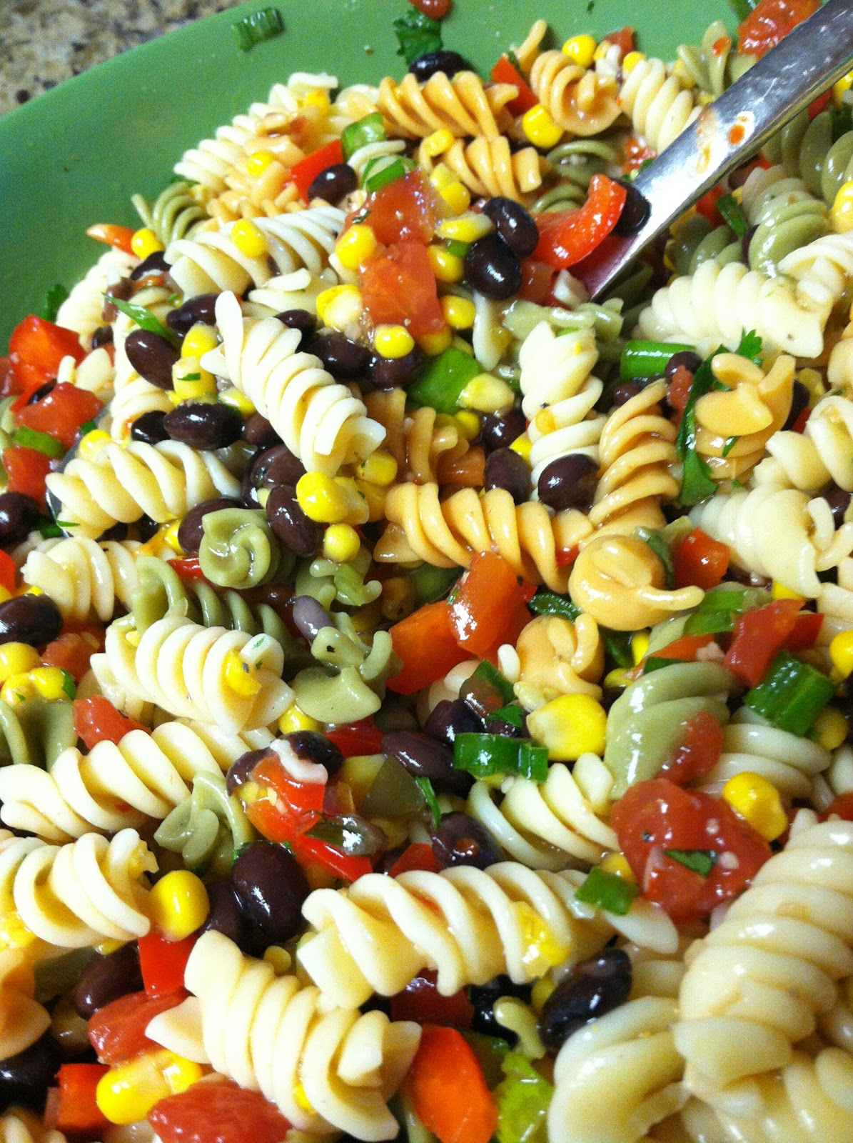 My Black Bean & Corn Pasta Salad...I love cold salads for lunch this ...
