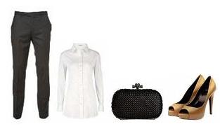 pantalón de vestir + camisa blanca + peep-toe camel + clutch negro