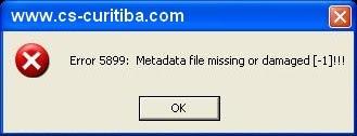 Metadata file missing or damaged (-1)