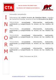 C.T.A. INFORMA CRÉDITO HORARIO CRISTOBAL NIETO, DICIEMBRE 2018