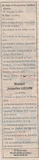 Décès Lucchini née Serra Jacqueline
