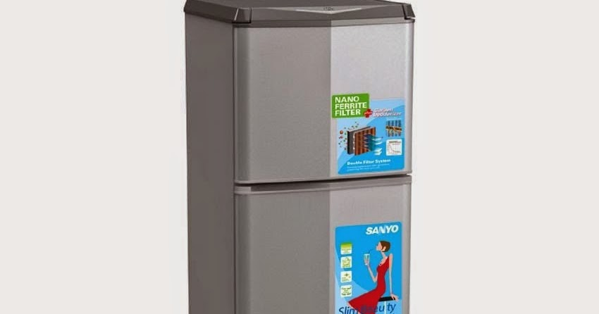 sanyo refrigerator   kulkas 2 pintu srd235nsb   silver